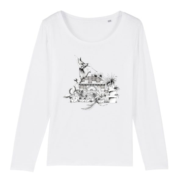 T-shirt Femme Manches Longues Motif N&B – 100% Coton Bio