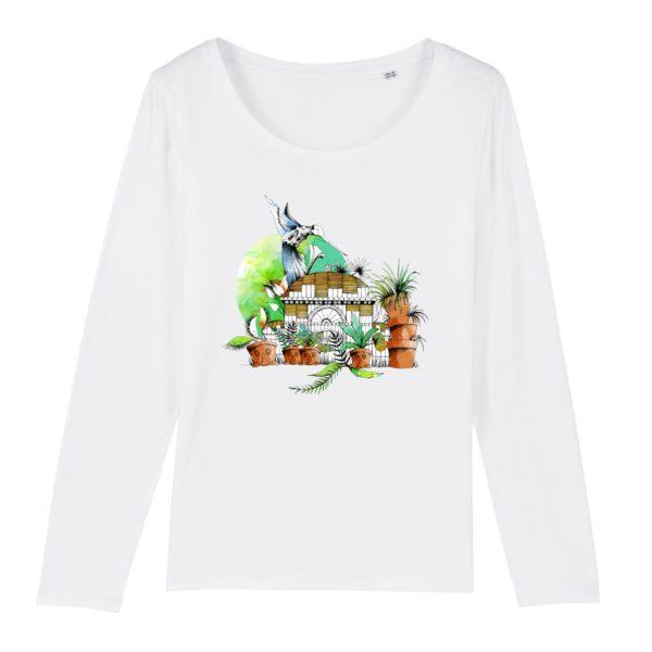 T-shirt Femme Manches Longues Motif Couleur – 100% Coton Bio