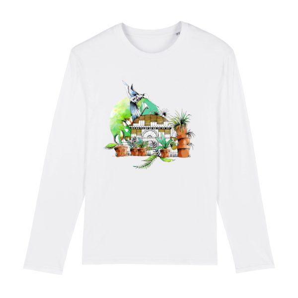 T-shirt Homme Manches Longues Motif Couleur – 100% Coton Bio