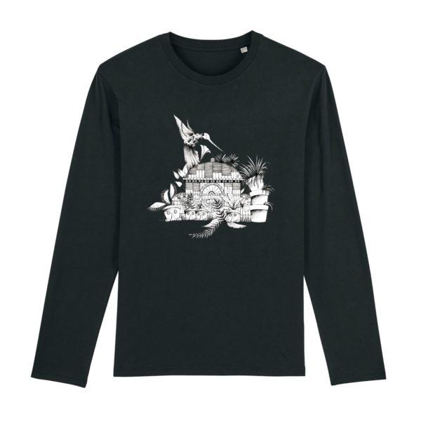 T-shirt Homme Manches Longues Motif N&B – 100% Coton Bio